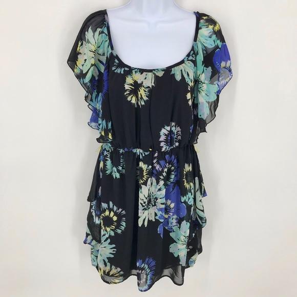 Iz Byer Dresses & Skirts - IZ Byer Black Floral Short Sleeve Mini Dress